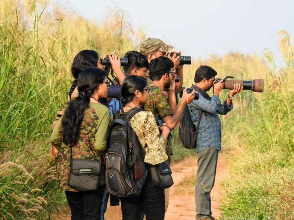 Citizen scientists birdwatching